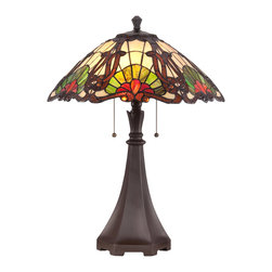 Quoizel - Quoizel TF1504TWT Tiffany 2 Light Table Lamps in Western Bronze - This 2 light Table Lamp from the Tiffany collection by Quoizel will enhance your home with a perfect mix of form and function. The features include a Western Bronze finish applied by experts. This item qualifies for free shipping!