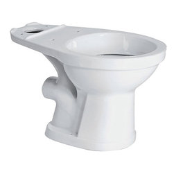 Saniflo - Saniflo 007 Rear Spigot Elongated Toilet Bowl Only - ADA Compliant 16 3/4 High W - The Saniflo elongated front bowl comes with a rear spigot discharge and works with the Saniflo pumps. This bowl is ADA compliant, sitting 16-3/4 inches high. It allows you to put a bathroom where you never thought possible. Combine this bowl with the tank and Saniflo pump and you are ready to go.