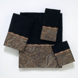Avanti - Avanti Bradford Hand Towel in Balck - This hand towel features a beautifully woven classic paisley border design done in blacks and gold. The border is finished off with a coordinating woven gimp trim.