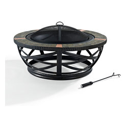 Crosley - Glendale Round Slate Firepit in Black - Dimensions:  42 x 42 x 14 inches
