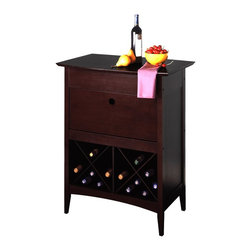 Winsome Wood - Winsome Wood Wine Butler with Dark Espresso Finish X-73829 - Its lower crisscrossed shelf holds eight bottles, and its upper cabinet drops down to reveal a storage place for glasses. The top also separates to create a secure holding spot for open bottles and extra table space on which to rest full glasses.