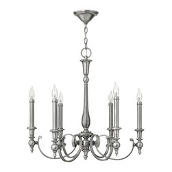 Hinkley Lighting - Hinkley Lighting 3626AN Yorktown 6 Light Chandeliers in Antique Nickel - The elegant Yorktown collection offers updated traditional styling with cast detailing for an authentic touch. The tall candle sleeves, finials and ball transitions combine to make this classic 6 light chandelier in an Antique Nickel finish perfect for an