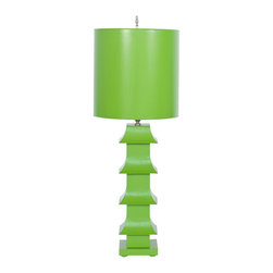 "Worlds Away - Worlds Away Green Painted Tole Pagoda Lamp LMPHG - Green painted tole pagoda lamp with 11"" dia painted tole shade. Ul approved for one 60 watt bulb."