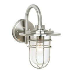 "John Timberland - Contemporary Stratus Collection 12 3/4"" High Indoor - Outdoor Wall Sconce - An industrial-looking brushed steel wall light from the John Timberland Collection. The design features a beautiful seeded glass enclosure for added sparkle. Use indoors or as an outdoor wall sconce. Uses one 60 watt bulb (not included). 12 3/4"" high. 8 1/4"" wide. Extends 12"" from the wall. Backplate is 5 1/4"" in diameter.  From the John Timberland lighting collection.  Use indoors or as an outdoor wall sconce.  Brushed steel finish.  Seeded glass.  Uses one 60 watt bulb (not included).   12 3/4"" high and 8 1/4"" wide.  Extends 12"" from the wall.   Backplate is 5 1/4"" in diameter."
