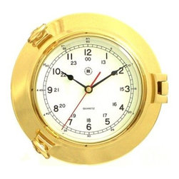 Bey-Berk International Brass Porthole Clock - Tarnish Proof - The Bey-Berk International Brass Porthole Clock T.P. is a delightful gift for the aquanauts among your family and friends. This timepiece features an analog quartz-movement, with a solid brass, tarnish-proof porthole case and beveled glass. Easy to mount on an office or home wall. About Bey-Berk InternationalThis quality item is created by Bey-Berk. For more than 20 years, Bey-Berk International has crafted and hand-selected unique gifts and accessories from around the world to meet the demands of discerning customers. With its line of elegant and distinctive products, Bey-Berk has established itself as a leader in luxury accessories.