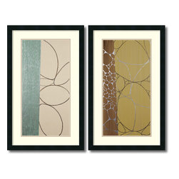 Amanti Art - Marilu Datoli Hartnett 'Third Journey- set of 2' Framed Art Print 19 x 31-inch E - Artful and intriguing, this enigmatic Abstract set will lend an air of urban sophistication to any room. With innovative explorations of color, shape, line and balance, it is a stunning art set.