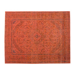 1800-Get-A-Rug - Overdyed Worn Old Persian Mashad Hand Knotted Rust Red Rug Sh15594 - The Overdyed and Patchwork hand knotted rug, represents one of the hottest trends in the industry today. Each Overdyed rug is stripped of its original colors, then dyed again in vibrant hues, to create unique and one-of-a-kind pieces. The Patchwork rug is handcrafted out of salvaged, vintage carpets, with a variety of colors combining to form a wholly unique and textured design.