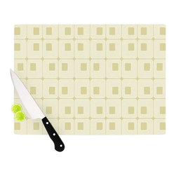 """Kess InHouse - Fotios Pavlopoulos """"Squares in Square"""" Tan Shapes Cutting Board (11"""" x 7.5"""") - These sturdy tempered glass cutting boards will make everything you chop look like a Dutch painting. Perfect the art of cooking with your KESS InHouse unique art cutting board. Go for patterns or painted, either way this non-skid, dishwasher safe cutting board is perfect for preparing any artistic dinner or serving. Cut, chop, serve or frame, all of these unique cutting boards are gorgeous."""