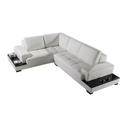 VIG Furniture - T71 White Top Grain Leather Sectional Sofa With Built-in End Tables - The T71 sectional sofa will be the perfect addition for any living room looking to add a modern touch. This sectional comes upholstered in a beautiful white top grain leather in the front where your body touches. Skillfully chosen match material is used on the back and sides where contact is minimal. High density foam is placed within the cushions for added comfort. The sectional features built-in end tables with a black lacquer top perfect for snacks and drinks. Along the back of the sectional are built-in cubbys with shelving space for books or other items making this sectional very versatile.