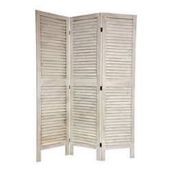 6 ft. Tall Classic Louvered Slat Venetian Room Divider - If Shabby Chic is your favorite style, these distressed Veneitan shutters-turned-room screen is for you! It will add an architectural detail to a room that may be suffering from boring drywall overload.