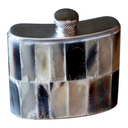 BoBo's Intriguing Objects - Horn Flask - In tribute to the Viking horn drinking flasks of old, this gentleman's flask is covered in a beautiful mosaic of real horn chips. Each has its own unique assortment of earthy colors and textures, giving you individualistic style with rustic appeal. Swig with old-world warrior pride.