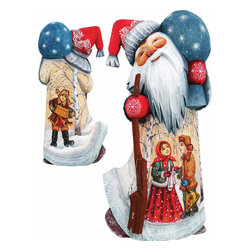 """Artistic Wood Carved Santa Claus Winter Ballad Sculpture - Measures 9""""H x 3.75""""L x 3.25""""W and weighs 2 lbs. G. DeBrekht fine art traditional, vintage style sculpted figures are delightful and imaginative. Each figurine is artistically hand painted with detailed scenes including classic Christmas art, winter wonderlands and the true meaning of Christmas, nativity art. In the spirit of giving G. DeBrekht holiday decor makes beautiful collectible Christmas and holiday gifts to share with loved ones. Every G. DeBrekht holiday decoration is an original work of art sure to be cherished as a family tradition and treasured by future generations. Some items may have slight variations of the decoration on the decor due to the hand painted nature of the product. Decorating your home for Christmas is a special time for families. With G. DeBrekht holiday home decor and decorations you can choose your style and create a true holiday gallery of art for your family to enjoy. All Masterpiece and Signature Masterpiece woodcarvings are individually hand numbered. The old world classic art details on the freehand painted sculptures include animals, nature, winter scenes, Santa Claus, nativity and more inspired by an old Russian art technique using painting mediums of watercolor, acrylic and oil combinations in the G. Debrekht unique painting style. Linden wood, which is light in color is used to carve these masterpieces. The wood varies slightly in color."""
