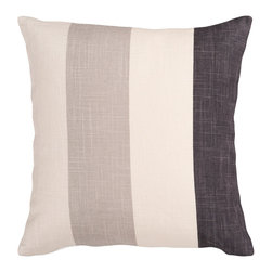 """Surya - Surya Pillow Kit Down Square Sand Dollar 22"""" x 22"""" Accent Pillow - Thick stripes make this stylish pillow the perfect accessory to your room. Colors of ivory, gray, and black accent this decorative pillow. This pillow contains a down fill and a zipper closure. Add this 22"""" x 22"""" pillow to your collection today. Pillow Measurements are: 22"""" x 22"""", Pillow is made of: 80% Viscose / 20% Linen, Color is: Cream."""