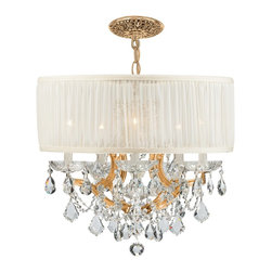 Crystorama - Crystorama 4415-GD-SAW-CLS Brentwood Chandelier - This isn't your Grandmother's crystal. The Brentwood Collection from Crystorama offers a nice mix of traditional lighting designs with large tailored encompassing shades. Adding either the Harvest Gold or the Antique White shade to these best selling skus