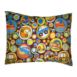 SheetWorld - SheetWorld Twin Pillow Case - Percale Pillow Case - Transportation Bubbles Brown - Twin Pillow Case. Made of an all cotton percale fabric. Features a beautiful Transportation Bubbles Brown print.