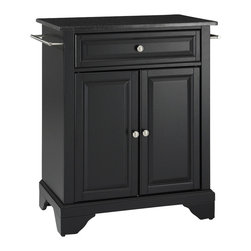 Crosley Furniture - LaFayette Black Granite Top Kitchen Island - LaFayette Collection. 1 Adjustable shelf. 1 Drawer. 2 Beautiful raised panel doors. 2 Towel Bars. Solid Black Granite top. Solid hardwood and veneer construction. Hand rubbed multi-step finish. Brushed Nickel hardware and White finish. Assembly required. 1-Year manufacturer's warranty.