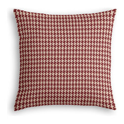 Red Handwoven Houndstooth Custom Throw Pillow - The every-style accent pillow: this Simple Throw Pillow works in any space.  Perfectly cut to be extra fluffy, you'll not only love admiring it from afar but snuggling up to it too!  We love it in this red & cream woven cotton houndstooth that will cozy up the classic home.