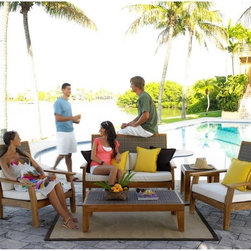 Hospitality Rattan - Panama Jack Leeward Islands 5 Piece Deep Seating Conversation Set with Cushions - Shop for Tables and Chairs Sets from Hayneedle.com! The Panama Jack Leeward Islands 5 Piece Deep Seating Conversation Set with Cushions - Natural Teak with Viro Wicker gives you everything you need to enjoy a nice evening out on the patio with friends and family. Every item in the Leeward Islands deep seating set incorporates a high-grade Indonesian teak frame with a natural finish - the set includes two lounge chairs a loveseat a coffee table and an end table. Incorporating a unique combination of outdoor materials the Viro synthetic fiber comes in a beautiful dark finish. The chairs and loveseat are outfitted with complementary cushions for added comfort. The set is both weather- and UV-resistant for durable outdoor use. Teak will weather gracefully if untreated so maintenance with teak oil and light sanding is suggested (oil not included). Chair dimensions: 25L x 25W x 35H inches. Loveseat dimensions: 44L x 25W x 35H inches. End table dimensions: 20L x 20W x 20H inches. Coffee table dimensions: 36L x 36W x 19H inches.About Hospitality RattanHospitality Rattan has been a leading manufacturer and distributor of contract quality rattan wicker and bamboo furnishings since 2000. The company's product lines have become dominant in the Casual Rattan Wicker and Outdoor Markets because of their quality construction variety and attractive design. Designed for buyers who appreciate upscale furniture with a tropical feel Hospitality Rattan offers a range of indoor and outdoor collections featuring all-aluminum frames woven with Viro or Rehau synthetic wicker fiber that will not fade or crack when subjected to the elements. Hospitality Rattan furniture is manufactured to hospitality specifications and quality standards which exceed the standards for residential use.Hospitality Rattan's Environmental CommitmentHospitality Rattan is continually looking for ways to limit their 