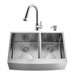 """VIGO Industries - VIGO All in One 36-inch Farmhouse Stainless Steel Double Bowl Kitchen Sink and C - Give your kitchen a fresh new look with a VIGO All in One Kitchen Set featuring a 36"""" Farmhouse - Apron Front sink, faucet, soap dispenser, two matching bottom grids and two strainers."""