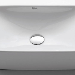 """Kraus - Kraus KCV-122 White Ceramic White Ceramic 19"""" Ceramic Vessel Bathroom - Product Features:Fully covered under Kraus  limited lifetime warrantyConstructed of the finest grade vitreous chinaNon-porous glossy, baked on finish is highly durable and scratch resistantHandmade by skilled artisansAdd an elegant touch to your bathroom with a Kraus ceramic wash basinThis bathroom sink will enhance any home improvement remodelDesigned for above-the-counter installationSink only model - does not include pop-upStandard 1-3/4"""" drain opening - designed to easily connect to waste lines, including P-trapsExtra secure mounting assemblyAll necessary mounting hardware includedProduct Technologies and Benefits:The Vessel Advantage: Beyond uniqueness and their distinctive modern design, vessel sinks also present a couple of functional advantages. Because the sink is raised off the countertop, overall bathroom clutter presents less of an issue as items are merely level with or below the sink rim, not towering over it and in the way of your arms. Furthermore, bowl-shaped vessel sinks actually free up countertop space directly under the sink rim. Lastly, vessel sinks are much better at containing splashes, making face and hand washing less messy.Handcrafted Quality: Kraus vessel sinks are handcrafted in a very labor-intensive process. Starting with only the finest materials, artisans work each sink through its various production stages, with complete control over the entire process. By using hands to get the work done, each Kraus vessel sink is a functional work of art that has seen great care and thought put into its creation. The end result is a flawless sink that shows its attention to details.Heavily Certified: Kraus has gone to great lengths to be able to provide you, the homeowner, the rest-easy satisfaction knowing that your s"""