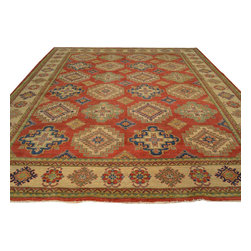 Tribal Design Red Kazak 100% Wool 11'x14' Hand Knotted Oriental Rug Sh17683 - Our Tribal & Geometric hand knotted rug collection, consists of classic rugs woven with geometric patterns based on traditional tribal motifs. You will find Kazak rugs and flat-woven Kilims with centuries-old classic Turkish, Persian, Caucasian and Armenian patterns. The collection also includes the antique, finely-woven Serapi Heriz, the Mamluk Afghan, and the traditional village Persian rug.