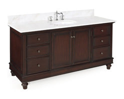 Kitchen Bath Collection - Bella 60-in Single Sink Bath Vanity (White/Chocolate) - This bathroom vanity set by Kitchen Bath Collection includes a chocolate cabinet with soft close drawers, white marble countertop, single undermount ceramic sink, pop-up drain, and P-trap. Order now and we will include the pictured three-hole faucet and a matching backsplash as a free gift! All vanities come fully assembled by the manufacturer, with countertop & sink pre-installed.