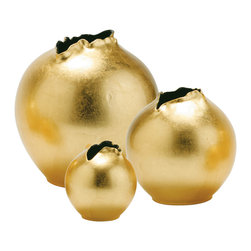 """Arteriors Gold Porcelain Organic Vase Set - Blueberries wrapped in gold — that's what this set reminds me of. With gold hot on the scene, grouping these in an entry vignette would be a beautiful way to say, """"Welcome to my home."""""""