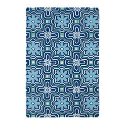 """Kaleen - Kaleen Matira Collection MAT02-17 7'6""""X9' Blue - Matira is inspired from the absolutely beautiful and breathtaking secluded beaches of Bora Bora. White powdery sand, crystal clear blue waters, and the lush botanical surroundings embrace every aspect of this collection. Each rug is UV protected and handmade with 100% Polypropylene. Complete with our special  K-Stop Non-Skid Backing , Matira will be your perfect anchor to a magical getaway."""