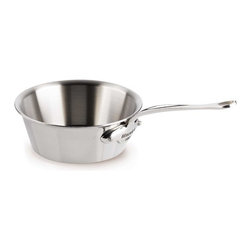 Mauviel - Mauviel M' Cook 5-Ply Stainless Splayed Saute Pan 1.0 qt. -Stainless Handles - The Mauviel MCOOK collection has the highest resistance to warping of any ply cookware. MCOOK is made with a patented process giving you a magnetic Stainless Steel exterior, 3 layers of aluminum and magnetic Stainless Steel interior. This symmetry (exterior of the pot and interior of the pot having the same material make up) creates a very ridged cookware that will not warp when being used on INDUCTION. Induction works with magnets and magnetic fields. A pull and push is generated between the stove top and the magnetic SS surface of the cookware. This movement creates heat. If the cookware surface is not balanced or equal inside and outside the cookware can be pulled out of form or warps. Mcook will not warp on induction. Multi-layered 18/10 stainless steel provides a rapid, unform heat conduction and distribution. Noncorrosive Thickness: 1.6mm of aluminum plus 1mm of stainless steel for a total of 2.6mm thickness. Polished outside finish. Fixed by sturdy stainless steel rivets. Stainless steel handles. Suitable for electric, gas, halogen and induction cooktops. Made in France.
