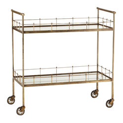 Arteriors - Lisbon Bar Cart, Brass - 2-tiered storage cart in vintage brass finish with antique mirror glass shelves and casters for mobility.