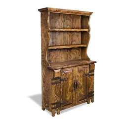 Koenig Collection - Reclaimed Wood Hutch Leah, Rustic Oak Finish With Distressed Scrolls - Reclaimed Wood Hutch Leah, Rustic Oak Finish with Distressed Scrolls