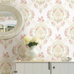Maybelle Pink Cameo Damask Brewster Wallpaper - The Claremont book from Brewster is full of classic colors and patterns to add a relaxed feeling of home to rooms.