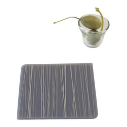 Modern-twist - Coaster Notz - Stream, Moss on Grey - They can be personalized time and again using a ballpoint pen. Offered in a variety of colors, each pattern comes in a box of four. Care: Keep away from sharp objects. Must wipe or rinse to prevent staining. Heat proof to 250C or 482F. Not a trivet.