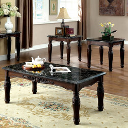 Furniture of America - Furniture of America Saxton 3-piece Faux Marble Top Coffee/ End Table Set - A remarkable set with nothing but classic features,this set offers a sleek faux marble top with noticeably elegant detailed carving accents,highlighted in chic espresso finish.