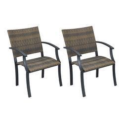 "Lamps Plus - Transitional Newport Walnut and Black Set of 2 Outdoor Arm Chairs - Featuring a two-tone walnut brown woven seat and back the Newport arm chair has an eye-catching look. The steel frame comes in a black powder-coated finish. Both moisture and weather resistant the synthetic weave requires very little maintenance. Adjustable nylon gliders prevent damage to deck or stone surfaces and provide stability on uneven surfaces. Black powder-coated finish. Steel frame. Synthetic weave. Set of two; price is for two chairs. 36"" high 24 1/2"" wide 24 1/4"" deep. Seat height is 18"".  Black powder-coated finish.   Steel frame.   Synthetic weave.   Set of two; price is for two chairs.   36"" high 24 1/2"" wide 24 1/4"" deep.   Seat height is 18""."