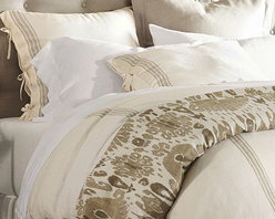 French Stripe Linen Duvet Cover, King/Cal. King, Sandalwood - In a design reminiscent of cafe awnings, our bedding has a cheerful, casual look that's perfect for spring. Woven of pure linen. Yarn dyed for vibrant, lasting color. Duvet cover and sham reverse to piece-dyed solid. Duvet cover and sham have button closures. Duvet cover, sham and insert sold separately. Machine wash. Imported.