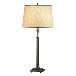 Robert Abbey - Winston Table Lamp, - Bring your decor to light in classic stye. This slim yet stately table lamp casts a warm glow and looks great doing it, thanks to its detailed brass-finished base and tidily trimmed shade.