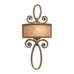 Kalco Lighting - Kalco Whitfield 1-Light Ada Sconce w/o Scroll - Shown in Aged Silver finish with Silver Mica Shade. The Whitfield Collection was inspired by the popular French fleur-de-lis. This collection combines a stylized fleur-de-lis with the exclusive Kalco Mica Drum shades. The delicate curves of wrought iron, available in Kalco's exclusive Antique Copper or Aged Silver finishes, combine with the warm light created by the Mica Drum shades to create a traditional style that is still contemporary. Overall size is 12 in. W x 4 in. D x 26.19 in. H.