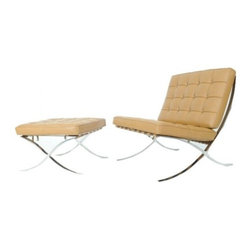 Serenity Living Stores - Barcelona Chair & Ottoman Reproduction - Italian Leather, Brown - The Barcelona Chair was initially designed by Mies Van Der Rohe & Lilly Reich during the middle of the 19th century. The main source of inspiration for our chair comes from the 1929 German Pavilion where Mies and Lilly Reich showcased a gorgeous chair now known worldwide as the Barcelona Chair.