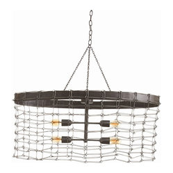 Arteriors - Trudy Pendant - This unique fixture adds rustic charm to your favorite casual setting. Its oval open-weave wire shade in a natural iron finish is ideal for displaying the filaments of antique-style bulbs.
