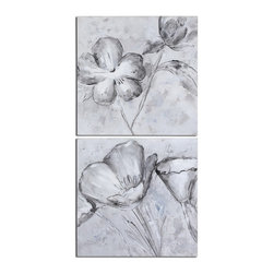 Uttermost - Uttermost 34261  Florals In Black And White Art S/2 - Frameless, hand painted artwork on canvas that has been stretched and attached to wooden stretching bars. due to the handcrafted nature of this artwork, each piece may have subtle differences.