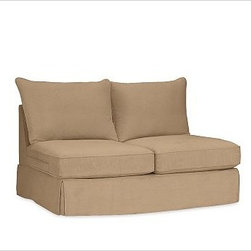 """PB Comfort Square Arm SectionalArmless Love Seat Knife-EdgeWashed Linen-CottonWa - Designed exclusively for our versatile PB Comfort Square Sectional Components, these soft, inviting slipcovers retain their smooth fit and remove easily for cleaning. Left Armchair with Box Cushions is shown. Select """"Living Room"""" in our {{link path='http://potterybarn.icovia.com/icovia.aspx' class='popup' width='900' height='700'}}Room Planner{{/link}} to select a configuration that's ideal for your space. This item can also be customized with your choice of over {{link path='pages/popups/fab_leather_popup.html' class='popup' width='720' height='800'}}80 custom fabrics and colors{{/link}}. For details and pricing on custom fabrics, please call us at 1.800.840.3658 or click Live Help. Fabrics are hand selected for softness, quality and durability. All slipcover fabrics are hand selected for softness, quality and durability. {{link path='pages/popups/sectionalsheet.html' class='popup' width='720' height='800'}}Left-arm or right-arm{{/link}} is determined by the location of the arm as you face the piece. This is a special-order item and ships directly from the manufacturer. To see fabrics available for Quick Ship and to view our order and return policy, click on the Shipping Info tab above. Watch a video about our exclusive {{link path='/stylehouse/videos/videos/pbq_v36_rel.html?cm_sp=Video_PIP-_-PBQUALITY-_-SUTTER_STREET' class='popup' width='950' height='300'}}North Carolina Furniture Workshop{{/link}}."""