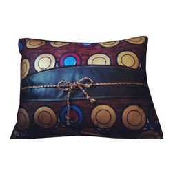 Jypsea Leathergoods - Gold Metallic Circles Throw Pillow with Leather Cummerbund - Is it the beautiful fabric with the metallic gold circles? Is it the leather cummerbund? Or is it the metallic gold and black bow? Whatever it is that you love about this throw pillow, it is worthy of your adoration! It is one-of-a-kind, super soft, and very fashionable! And since the leather was upcycled from a discarded leather garment, it is also very eco-friendly.