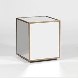 Owen Mirrored Cube by Gabby - Embracing 1950s retro design, the Owen Mirrored Cube graces rooms with its unique and effortless design. An antique gold finished iron frames the four mirrored sides and eglomise top of this chic, transitional side table.