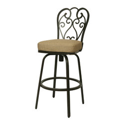 """Pastel Furniture - Magnolia Outdoor Barstool - The Magnolia 30"""" height outdoor swivel barstool with aluminum frames with cast aluminum back upholstered in Sunbrella fabric. This beautifully designed outdoor barstool with its engaging mix of color and texture will take your outdoor living to a whole new place."""