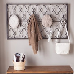 Quatrefoil Iron Wall Plaque with Hooks - Give your mud room entryway or office space a stylish way to stay organized with the Quatrefoil Iron Wall Plaque with Hooks. This multifunctional wall accent offers an artistic style that provides the perfect place to hang your hat. In fact it comes with 10 hooks so you can also hang up your coat bag umbrella and just about anything else you don't want lying on the floor. Its open design offers visual appeal without looking bulky while its aged iron finish works well with most decor styles. Add it anywhere you need to liven up the look with a little organizational flair.