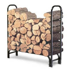 Landmann - 4 ft. Firewood Rack - 4 foot Firewood Rack. Sturdy and durable rack is made from tubular steel with a black weatherproof powder coat finish. It stacks firewood neatly off the ground protecting it from the ground's dampness. It holds one third face cord of wood and is the ideal size for smaller areas. Easy to assemble. Measures 47.5x13.5x49. Weighs 17 lbs.