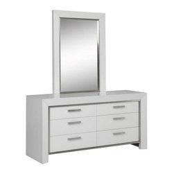 Whiteline Imports - Whiteline Imports Ibiza Dresser and Mirror in High Gloss White - Dresser and mirror in High Gloss White belongs to Ibiza Collection by Whiteline