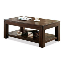 Riverside Furniture - Castlewood Rectangular Cocktail Table - Fixed bottom shelf.