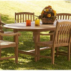 Southern Enterprises - Holly and Martin 9-Pc Patio Dining Set - Includes table and eight arm chairs. Round table with leaf. Maximum weight capacity for each chair: 250 lbs.. Warranty: One year limited. Made from 100% teakwood. Light brown finish. Made in Indonesia. Assembly required. Minimum table: 70.25 in. Dia. x 29.5 in. H. Maximum table: 94.75 in. L x 70.25 in. W x 29.5 in. H. Chair seat height: 17 in.. Arm chair: 23 in. W x 22.75 in. D x 35 in. HEnjoy the comfort simple good looks and durability of this patio set. Since the wood is constructed of solid teak hardwood that is both water and weather resistant the set will remain structurally sound for many years to come.